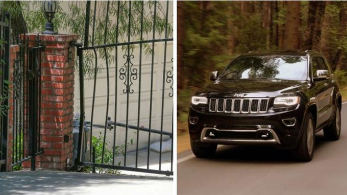 Le lieu à San Fernando Valley où est survenu l'accident mortel d'Anton Yelchin (gauche). Et le modèle de la Jeep Gran Cherokee 2015 (droite).