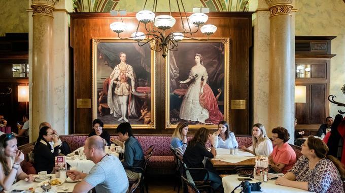 Les cafés, à Vienne, sont une institution. On peut y prendre un repas ou une consommation, et lire les journaux qui sont à la disposition des clients. Des portraits de François-Joseph et de l'impératrice Elisabeth ornent la grande salle du Café central.