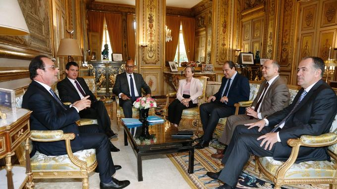 Jean-Christophe Cambadélis, premier secrétaire du PS, reçu cet après-midi par François Hollande.