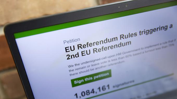 La pétition en ligne pour demander un deuxième référendum.