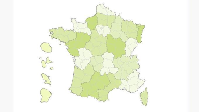 En vert foncé, les départements où l'emploi social et solidaire est plus important