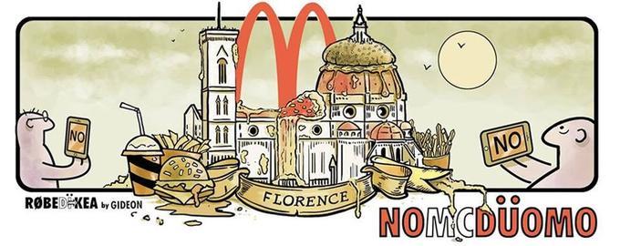 Les Florentins ont rivalisé de créativité pour manifester leur désapprobation.