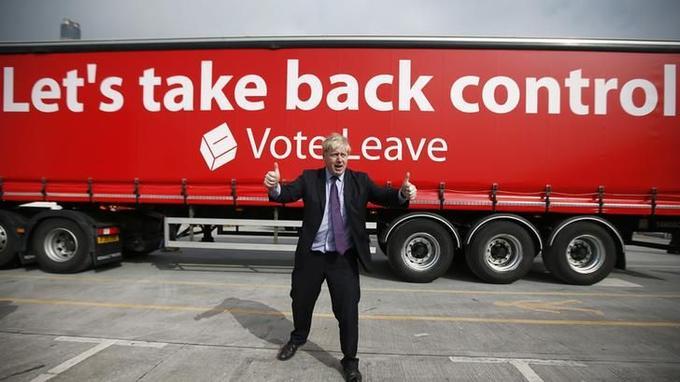 Boris Johnson, lors de la campagne du Brexit, en mars dernier.