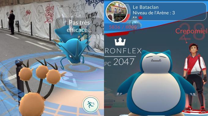 Il est possible de faire combattre ses Pokémons devant le Bataclan, pour prendre le contrôle de l'arène.