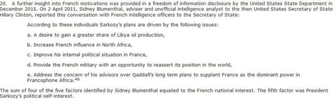 Extrait du rapport concernant les motivations de Nicolas Sarkozy.