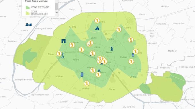 En vert foncé, les zones interdites aux voitures. En vert clair, celles où la circulation est déconseillée. Les cercles jaunes représentent les animations.