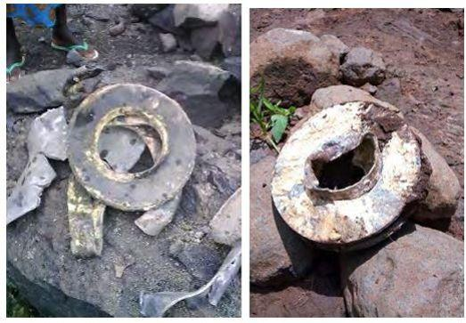 Munitions suspectées d'être des restes d'armes chimiques.