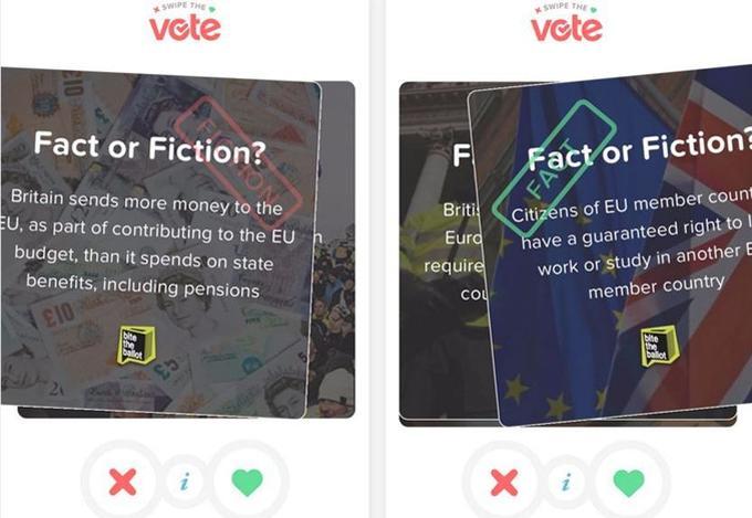 Deux questions posées à l'occasion de l'édition britannique de «Swipe the vote»