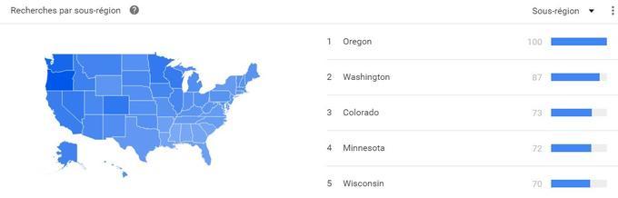Beaucoup d'Américains vivant en Oregon ou dans le Wisconsin ont effectué cette recherche sur Google.