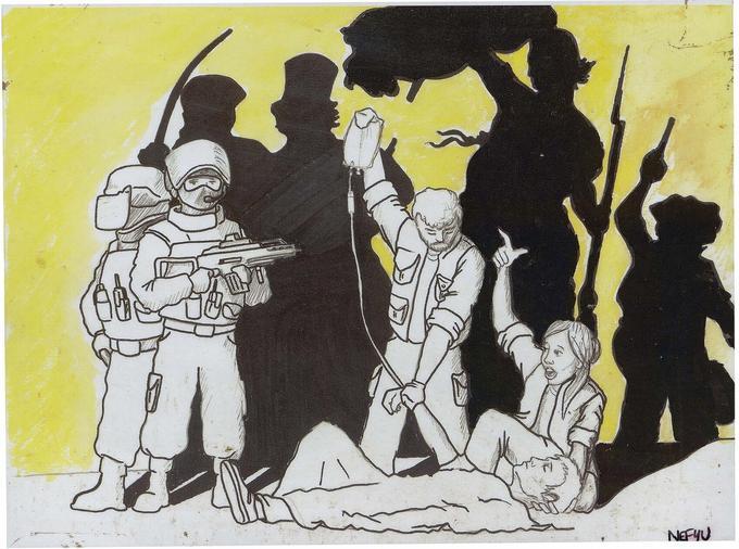 Un dessin rappelant l'&#339;uvre <i>La Liberté guidant le peuple</i> d'Eugène Delacroix, déposé devant le Bataclan.