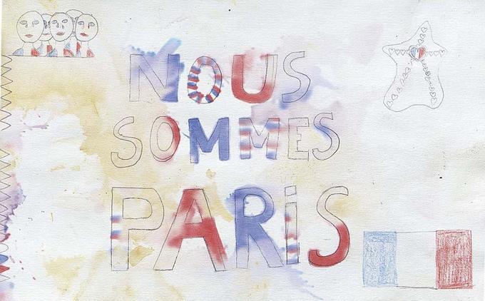 «Nous sommes Paris.» Dessin recueilli devant le Bataclan.