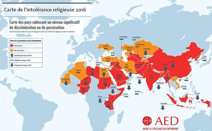 Carte de l'intolérance religieuse, établie par l'AED dans son rapport de 2016.