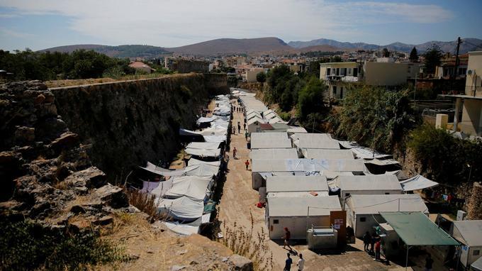 Le camp de migrants de Souda sur l'île de Chios