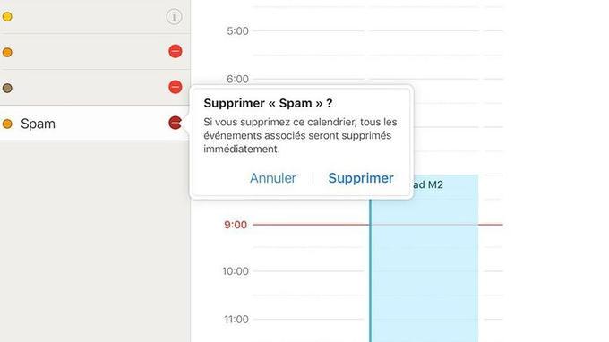 À gauche, quatre calendriers, dont Spam, à supprimer.