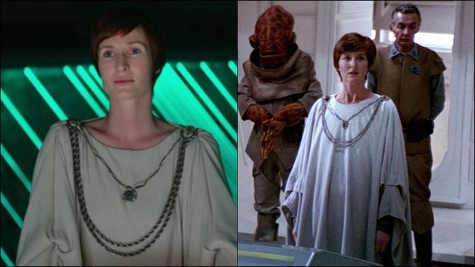 Mon Mothma dans <i>Rogue One</i> (à gauche) / Mon Mothma dans <i>Le Retour du Jedi</i>.