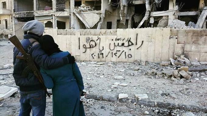 «Nous reviendrons mon amour», dit ce poème mural inspiré d'une chanson de la grande Fairouz.