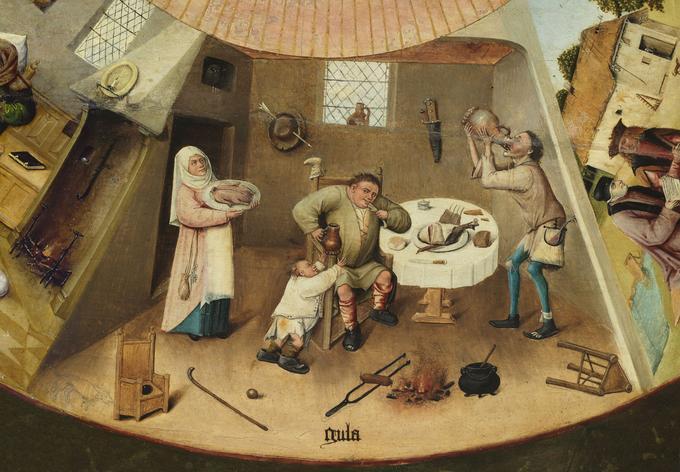 Jérôme Bosch, «La gourmandise», détail de «La table des Péchés Capitaux», peinture sur bois de peuplier, début XVIe siècle, Madrid, Museo del Prado.