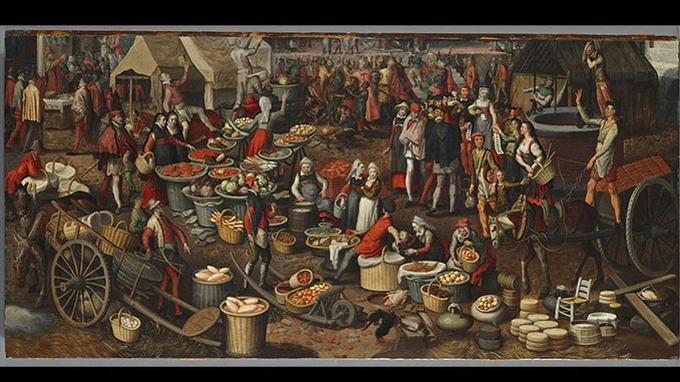 Pieter Aertsen, «Scène de marché», fragment d'un «Ecce Homo», huile sur bois, vers 1550, Munich, Alte Pinakothek.