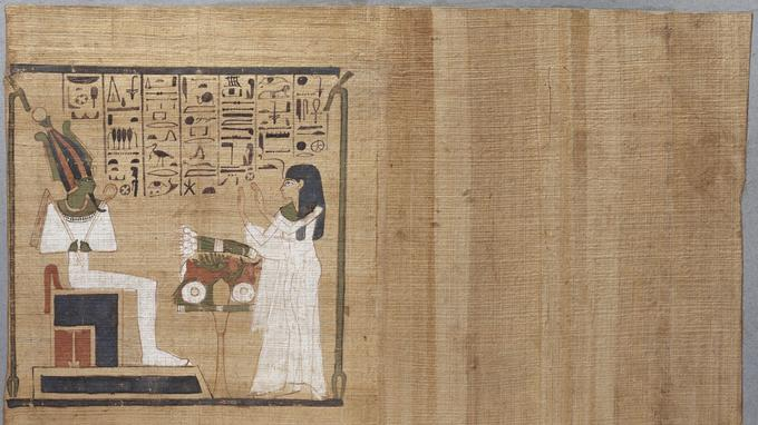 «Offrande à Osiris», Livre des Morts de Djedkhonsouiouefankh, papyrus peint vers 1069-664av J.C, Thèbes, tombe de Pairi, fresque murale CheikhAbd el-Gournah.