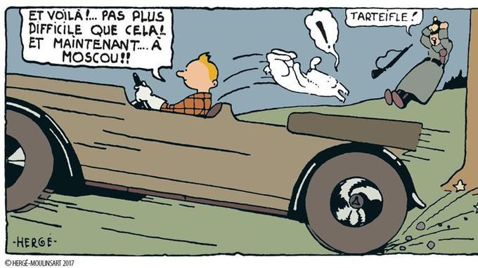 Case du bas de la huitième planche (page 7 de la nouvelle édition) de <i>Tintin au pays des Soviets</i>, mis en couleur, dessiné par Hergé en 1929.