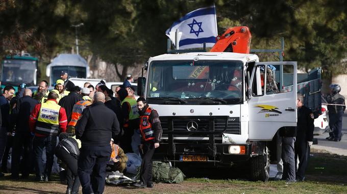 Le camion qui a percuté les soldats de l'armée israélienne
