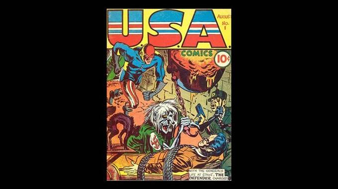 U.S.A Comics, Vol. 1 # 1, couverture de Jack Kirby, Marvel, août 1941