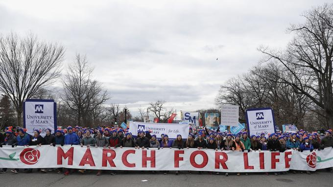 Une banderole pour la 44e édition de la «March for Life».