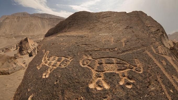 Des pétroglyphes de plus de 1000 ans recouvrent les rochers du site de Toro Muerto.