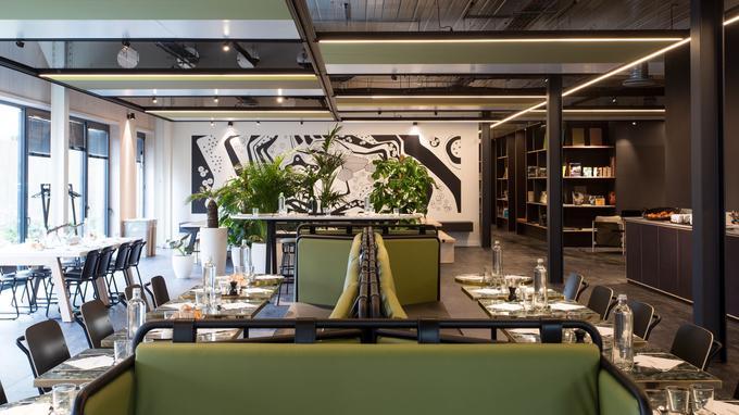 L'espace de restauration de la Nouvelle Manufacture Design. Crédit: Saguez & Partners.