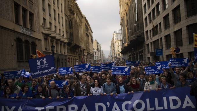 La Catalogne, «terre d'accueil» selon les manifestants du mouvement «Nous voulons accueillir».