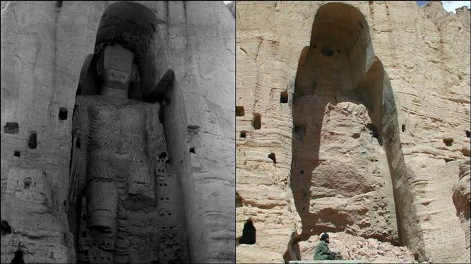 Bouddha géant de Bamiyan, avant et après les attentats.