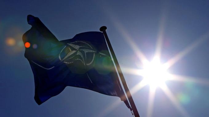 Un drapeau de l'Otan à Bruxelles.