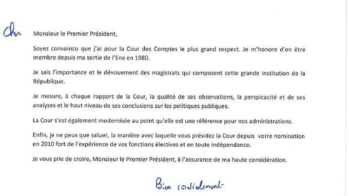 La lettre de François Hollande à la Cour des comptes. Document Le Lab.