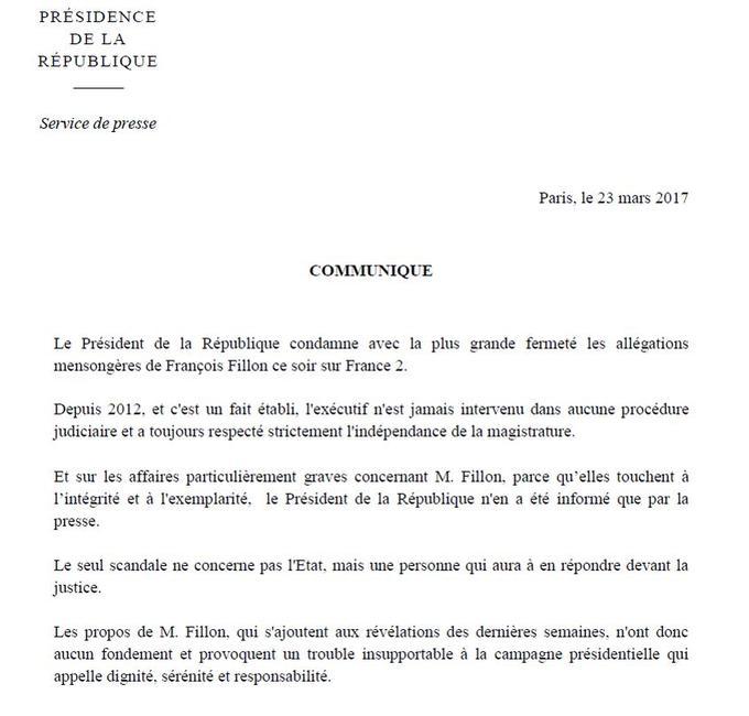 Communiqué de la présidence de la République après les propos de François Fillon.