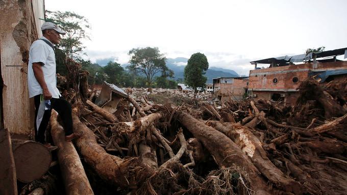 La boue a charrié de nombreux arbres et débris.