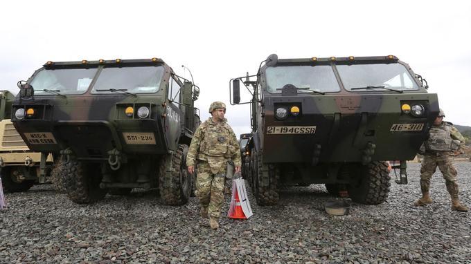 Des soldats américains à Pohang, en Corée du Sud, hier.