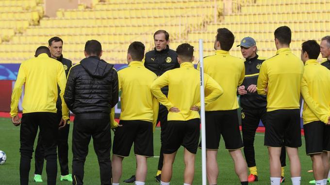Les joueurs de Dortmund hier à l'entraînement.