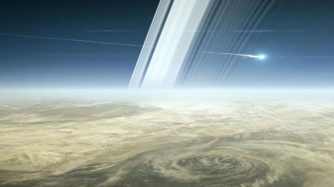 Le 15 septembre 2017, Cassini ira se désintégrer dans l'atmosphère de Saturne (vue d'artiste).