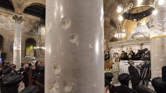 Le pape François était dans l'église Al Boutrosiyya du Caire, cible d'un attentat le 11 décembre 2016, pour y rencontrer le pape copte Théodore II d'Alexandrie.