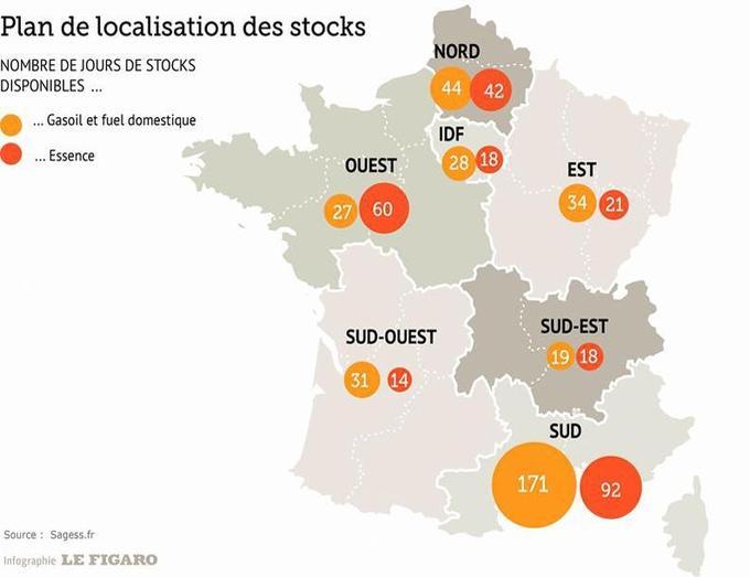 Plan de localisation des stocks dans les 7 zones de défense de la Sagess (2011-2012).