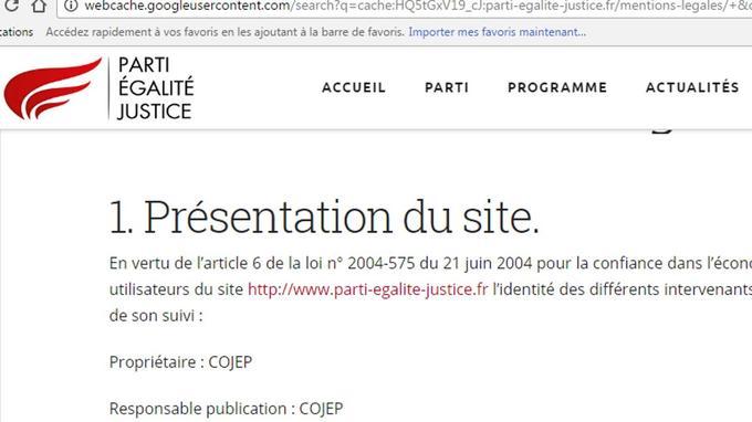 Capture d'écran des mentions légales du site du Parti égalité et justice, le 1er juin 2017, avant leur modification.
