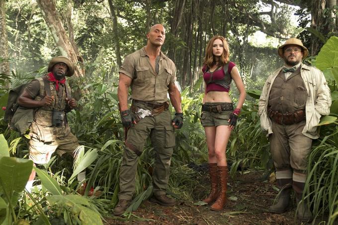 De gauche à droite: Kevin Hart, Dwayne Johnson, Karen Gillan, Jack Black.(Sony Pictures Releasing GmbH)