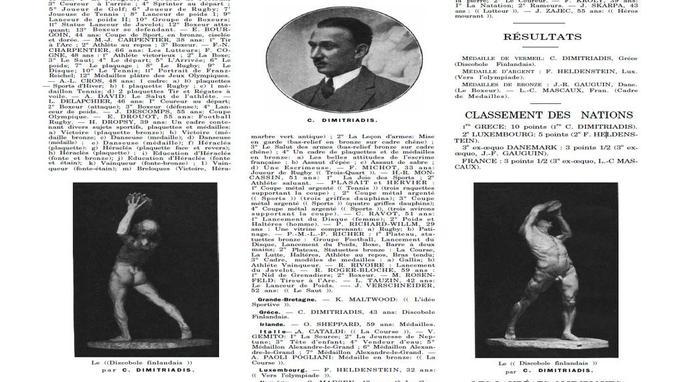 Extrait du rapport officiel des Jeux Olympiques de Paris 1924.