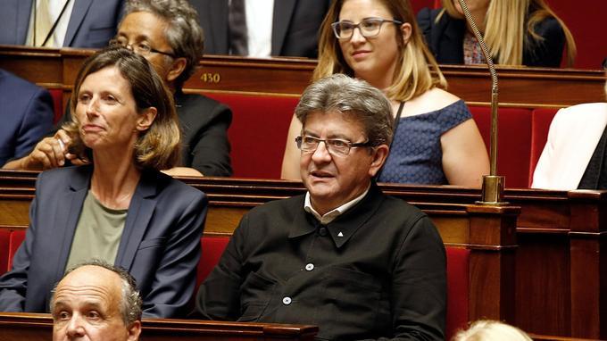 Jean-Luc Mélenchon, mardi après-midi, lors de la première séance à l'Assemblée nationale.