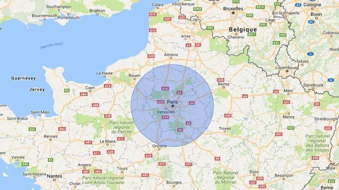 Limite d'un cratère de 200 km de diamètre autour de l'Ile de France.