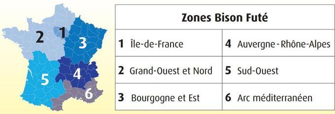 Les zones de circulation utilisées par Bison Futé pour ses prévisions.
