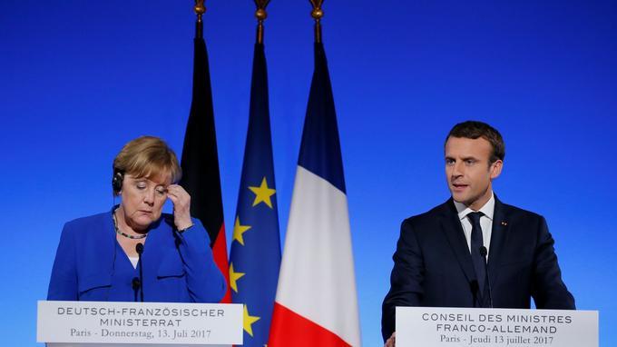 Angela Merkel et Emmanuel Macron lors de leur conférence de presse à l'issue du Conseil des ministres.