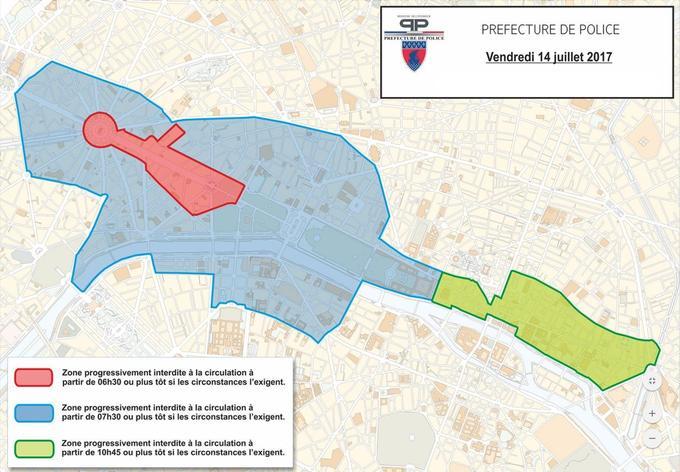 Le plan de sécurité mis en place par la préfecture de police de Paris pour le 14 Juillet.
