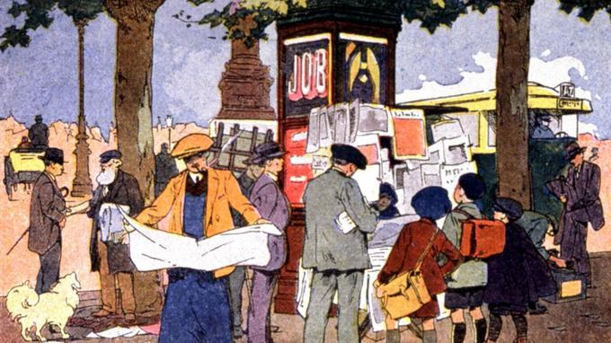 Un kiosque a journaux, place de la Bastille a Paris. (Illustration par F. Raffin vers 1910).
