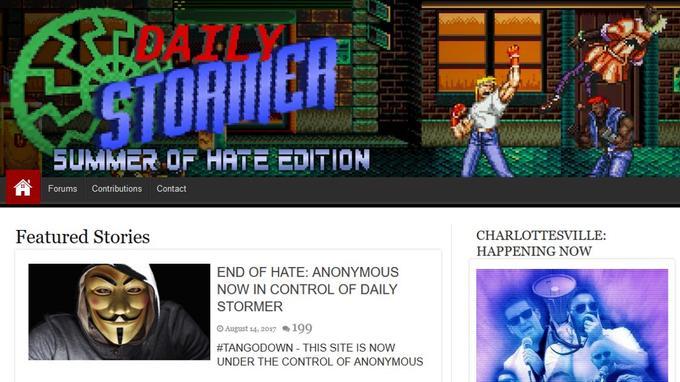 Le site <i>Daily Stormer</i>, piraté par des hackers se revendiquant d'Anonymous.